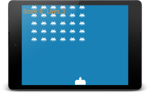 Space Invaders with the player ship and the invaders drawn to the screen