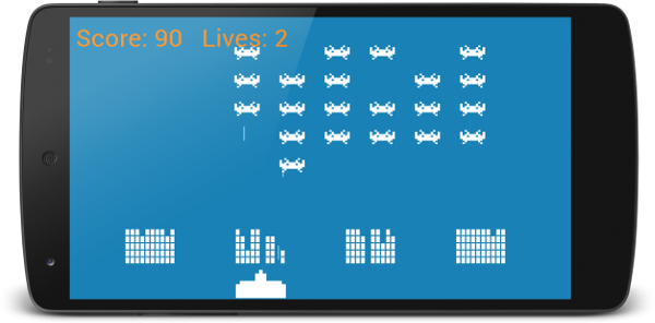 The completed Space Invaders game running on an Android phone