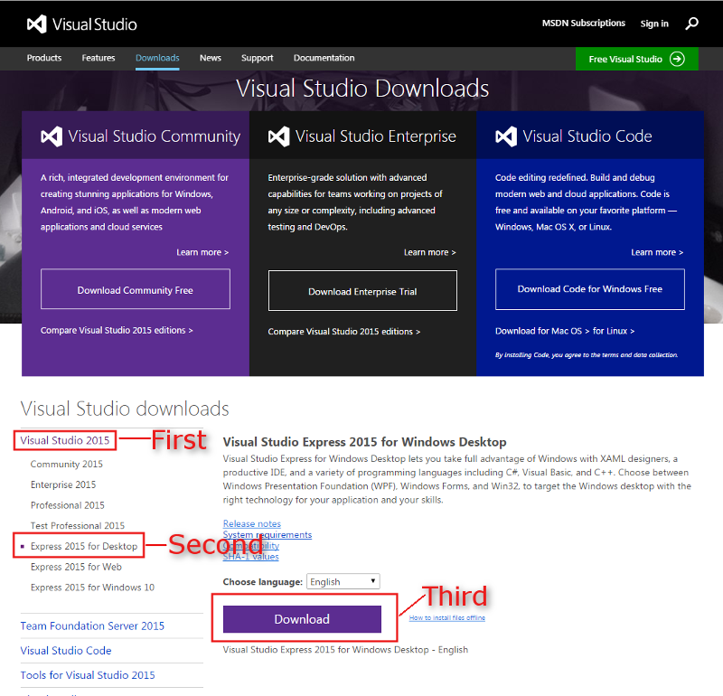 download_visual_studio_2015_express_for_SFML_game_development