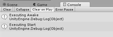 Unity 2d console output awake and start methods