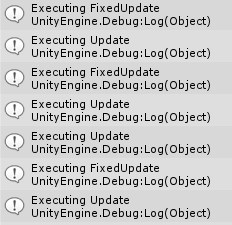Unity 2d console output FixedUpdate and Update methods