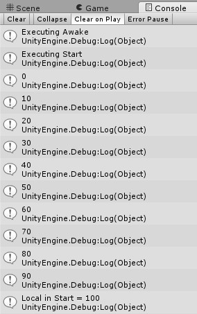 Unity 2d console output variable, scope, loops and methods