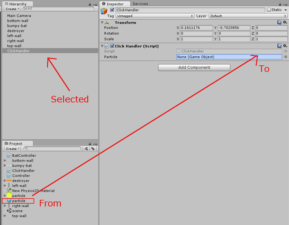 This image is an attempt to illustrate how to drag and drop a prefab to a script's public object.