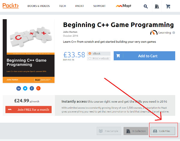 Downloading Beginning C++ Game Programming Code Files