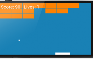 The completed Breakout/Arkanoid game running on Android